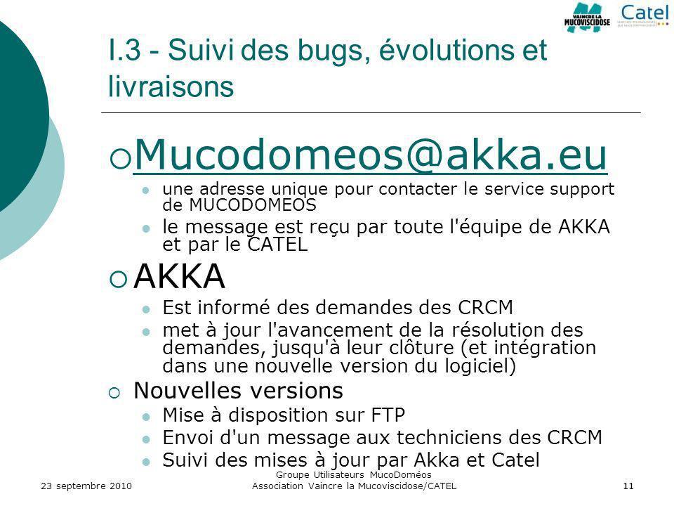 I.3 - Suivi des bugs, évolutions et livraisons