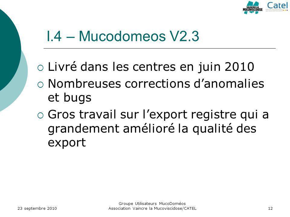 I.4 – Mucodomeos V2.3 Livré dans les centres en juin 2010
