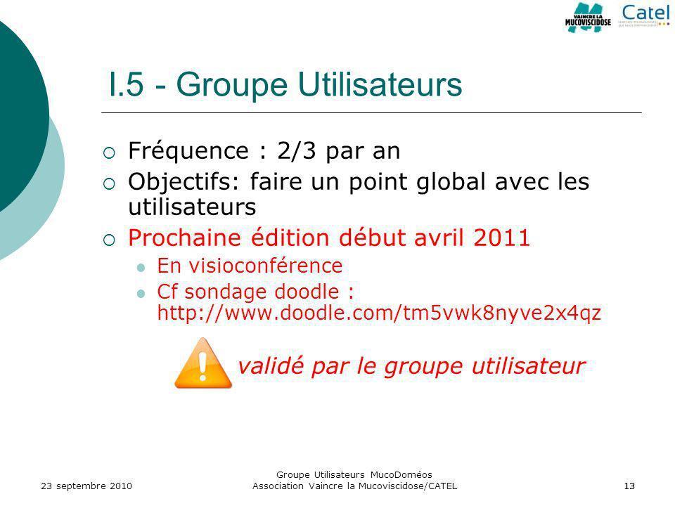 I.5 - Groupe Utilisateurs