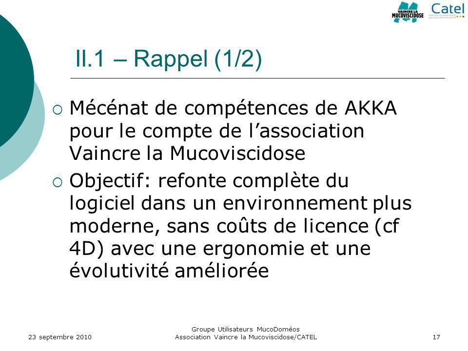 II.1 – Rappel (1/2) Mécénat de compétences de AKKA pour le compte de l'association Vaincre la Mucoviscidose.