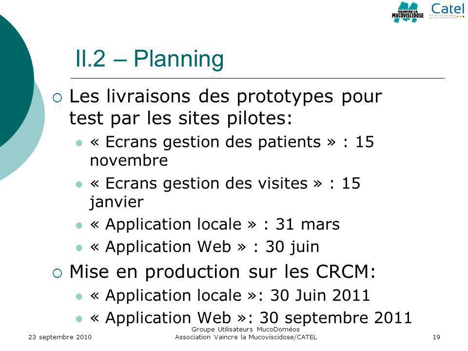 II.2 – Planning Les livraisons des prototypes pour test par les sites pilotes: « Ecrans gestion des patients » : 15 novembre.