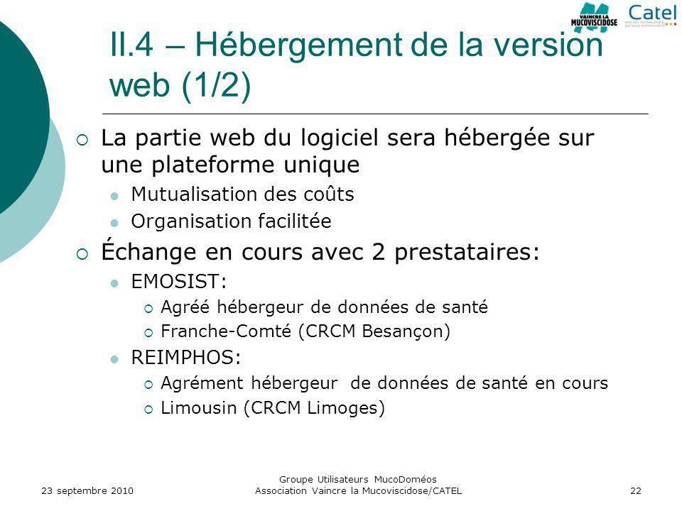 II.4 – Hébergement de la version web (1/2)