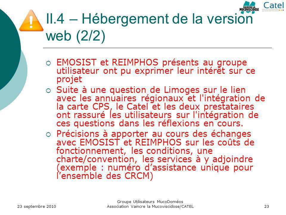 II.4 – Hébergement de la version web (2/2)
