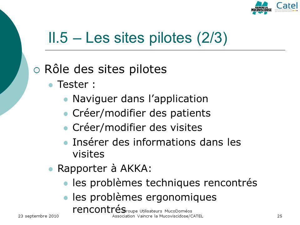 II.5 – Les sites pilotes (2/3)