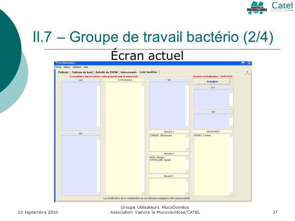 II.7 – Groupe de travail bactério (2/4)