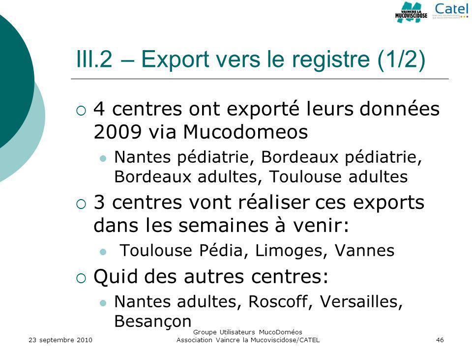III.2 – Export vers le registre (1/2)