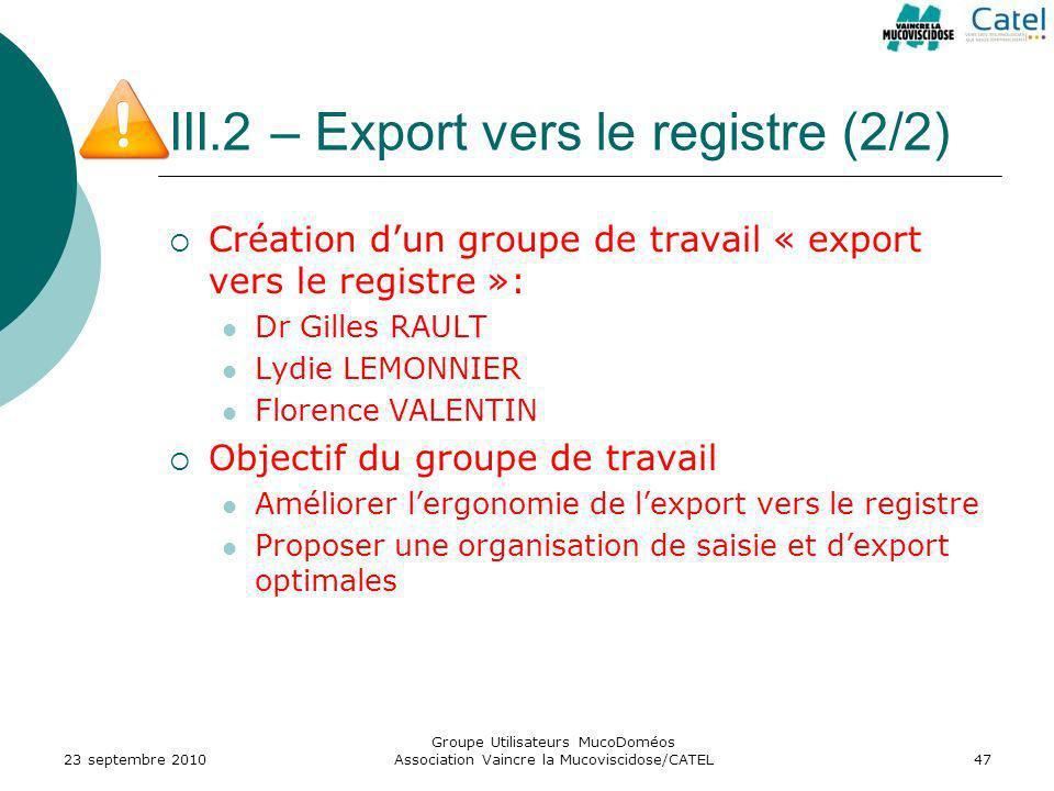 III.2 – Export vers le registre (2/2)
