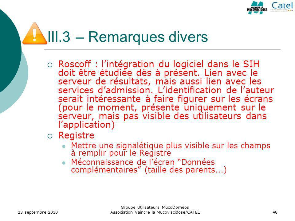 III.3 – Remarques divers