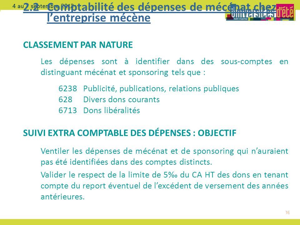 2.2 Comptabilité des dépenses de mécénat chez l'entreprise mécène