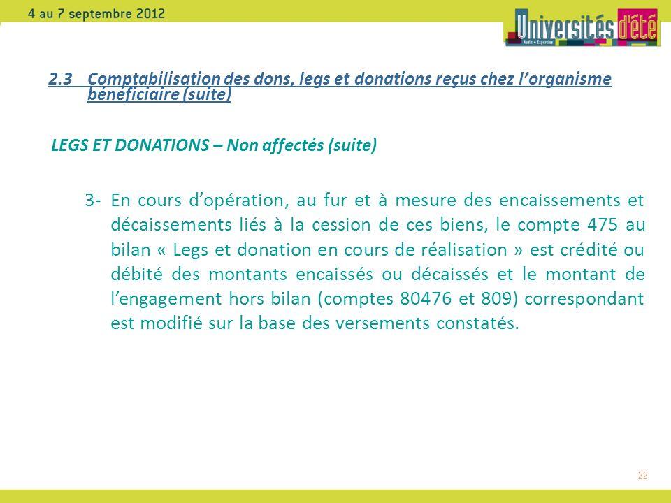 2.3 Comptabilisation des dons, legs et donations reçus chez l'organisme bénéficiaire (suite)