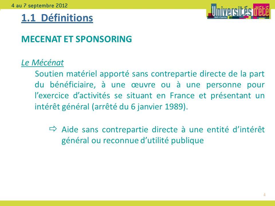1.1 Définitions MECENAT ET SPONSORING