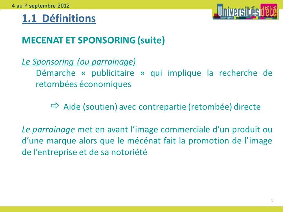1.1 Définitions MECENAT ET SPONSORING (suite)