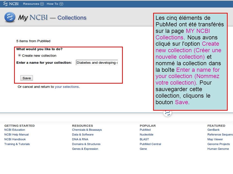 Les cinq éléments de PubMed ont été transférés sur la page MY NCBI Collections.