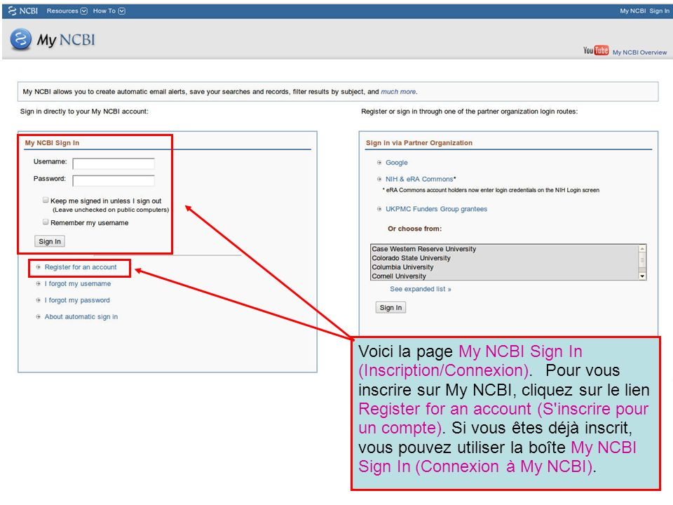 Voici la page My NCBI Sign In (Inscription/Connexion)