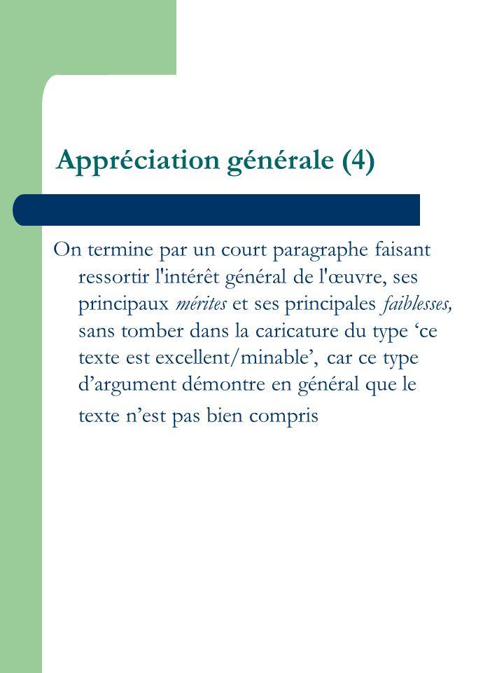 Appréciation générale (4)