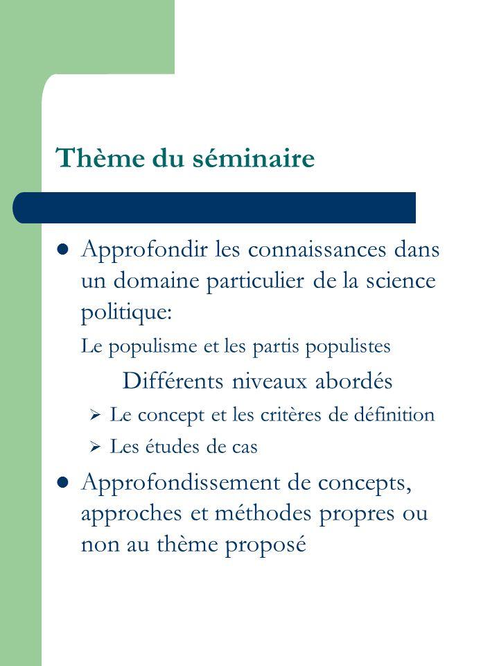 Thème du séminaire Approfondir les connaissances dans un domaine particulier de la science politique: