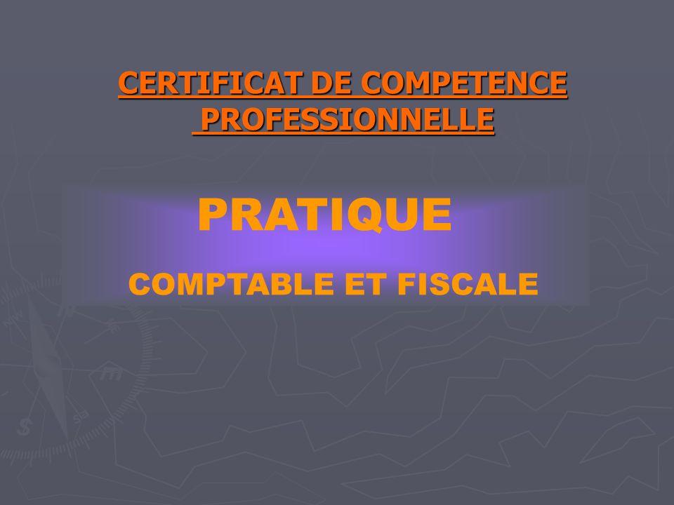 CERTIFICAT DE COMPETENCE PROFESSIONNELLE