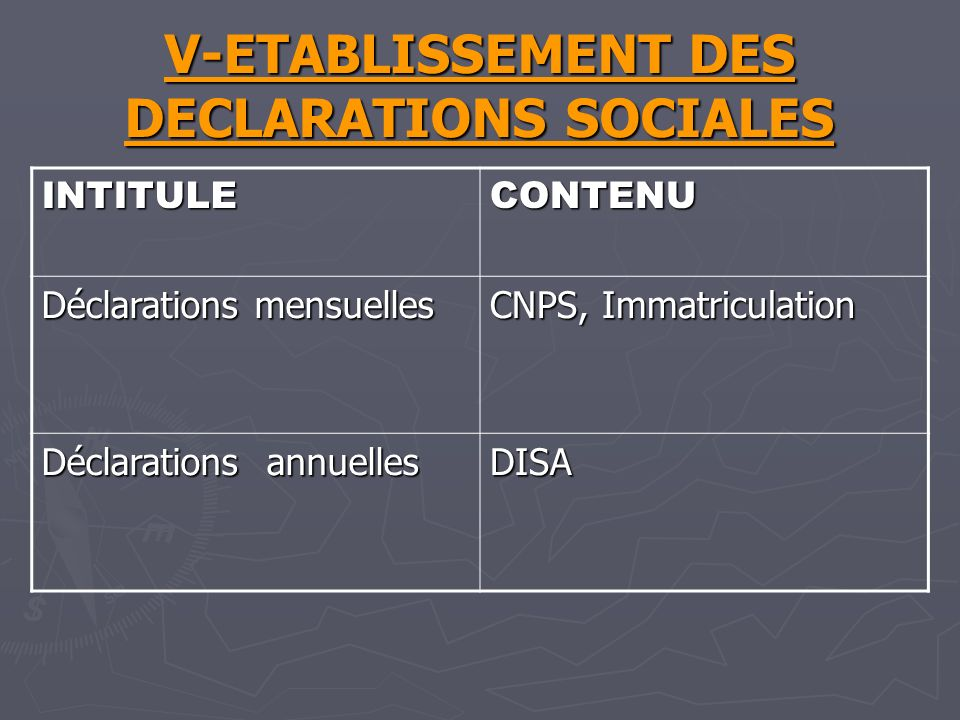V-ETABLISSEMENT DES DECLARATIONS SOCIALES