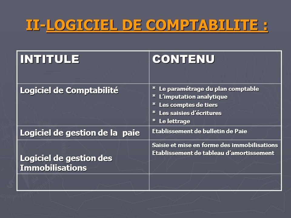 II-LOGICIEL DE COMPTABILITE :