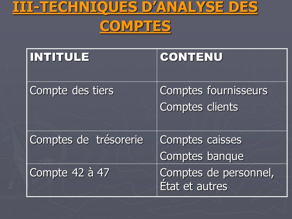 III-TECHNIQUES D'ANALYSE DES COMPTES