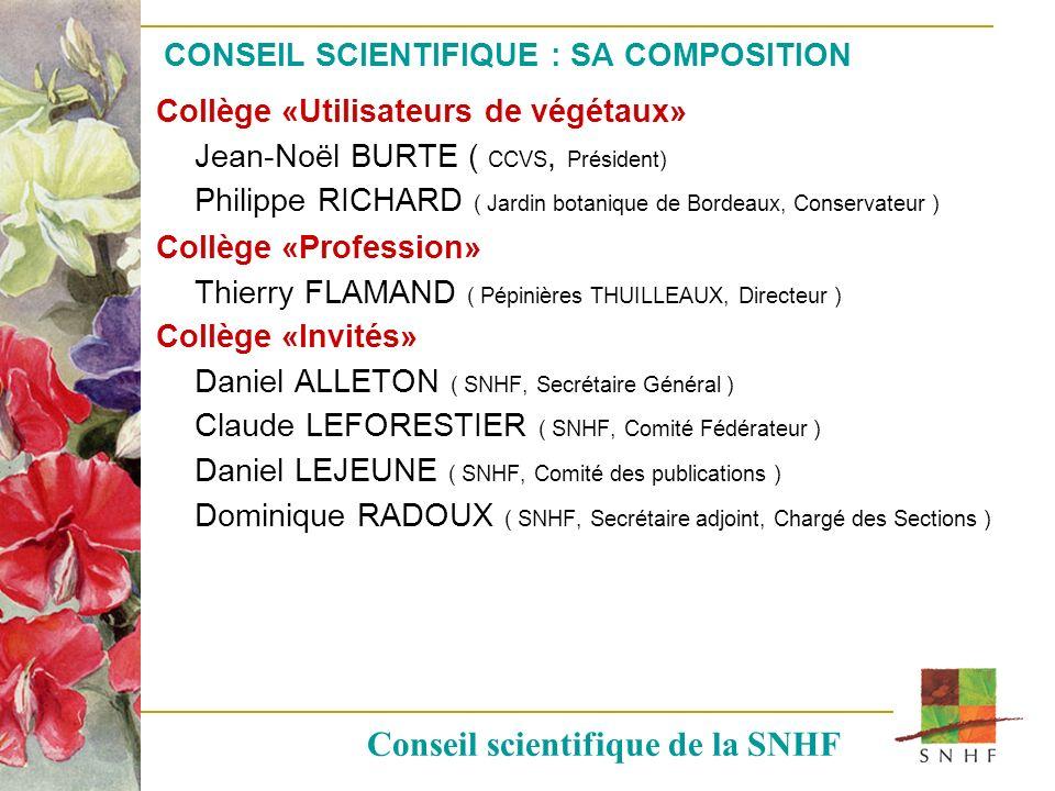 CONSEIL SCIENTIFIQUE : SA COMPOSITION
