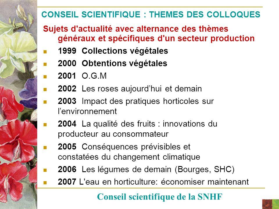 CONSEIL SCIENTIFIQUE : THEMES DES COLLOQUES
