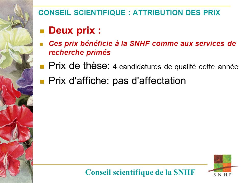 CONSEIL SCIENTIFIQUE : ATTRIBUTION DES PRIX