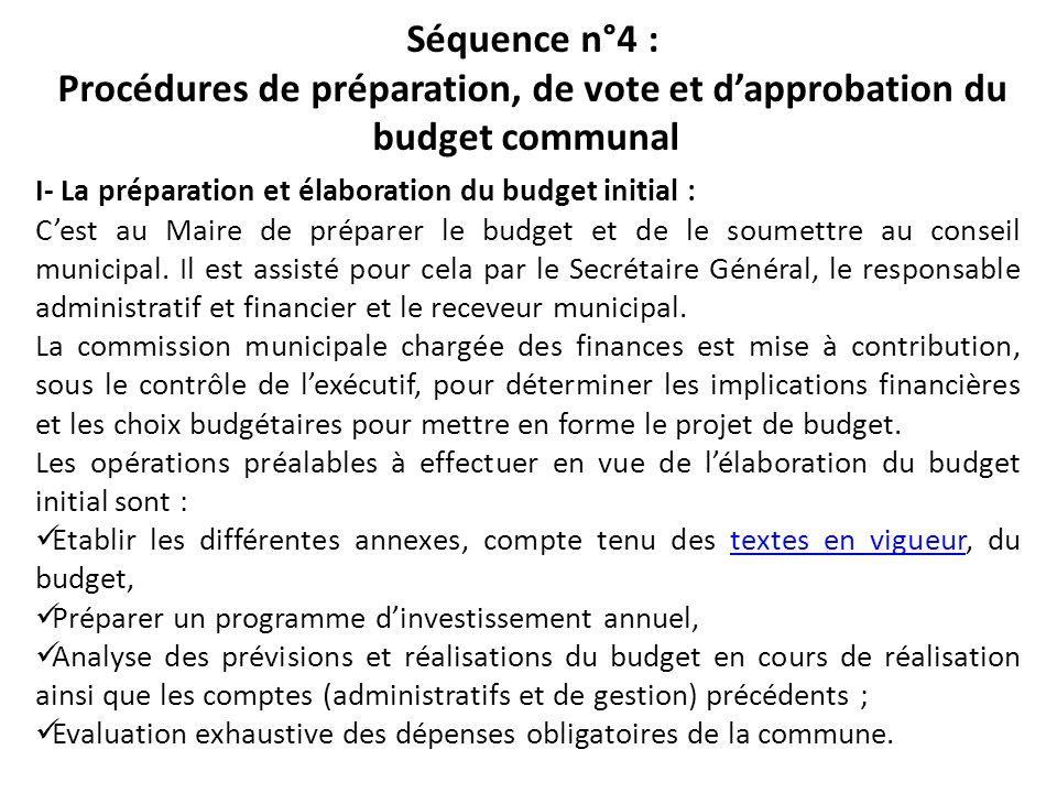 Séquence n°4 : Procédures de préparation, de vote et d'approbation du budget communal