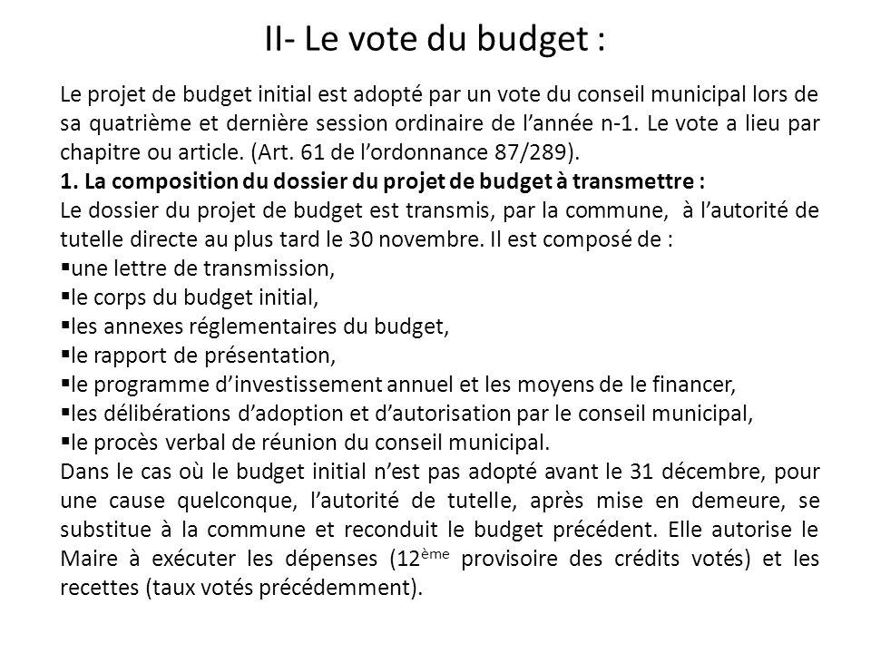 II- Le vote du budget :