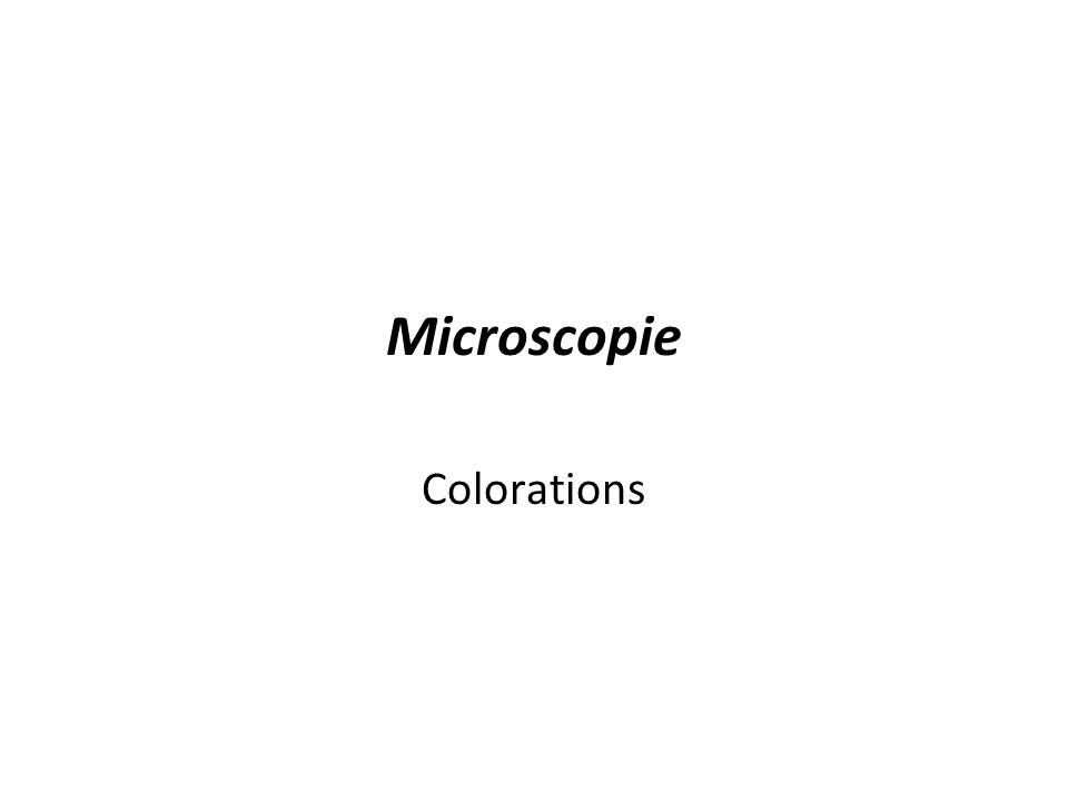 Microscopie Colorations