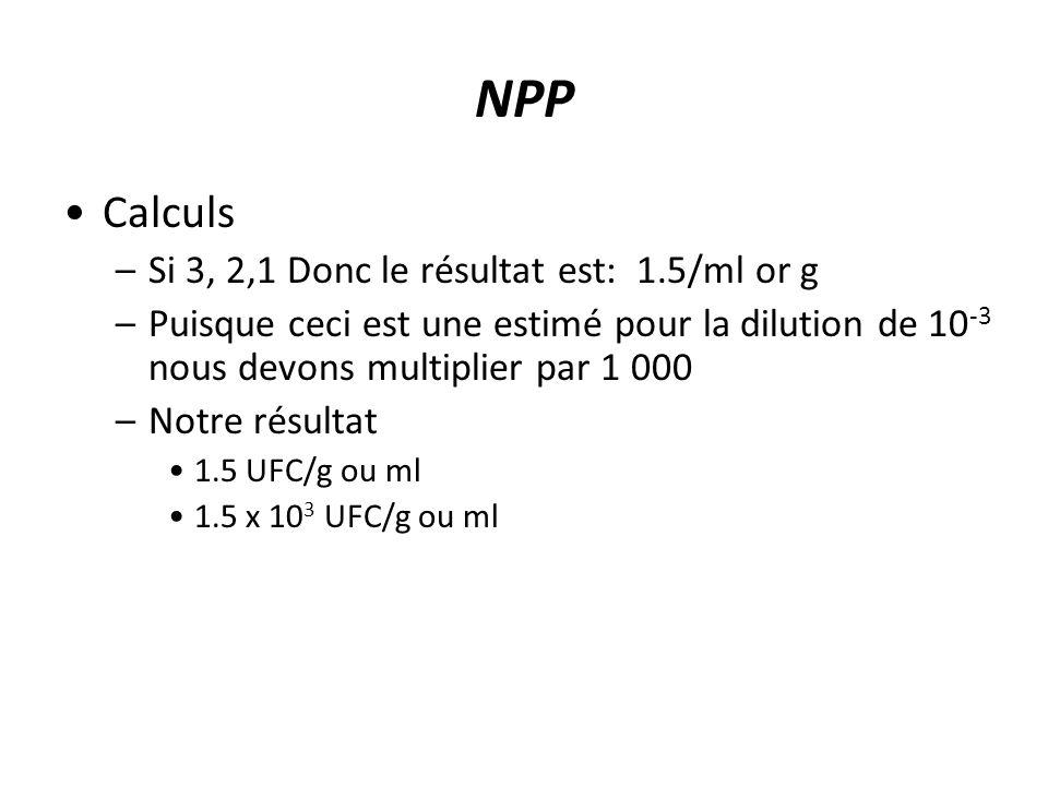 NPP Calculs Si 3, 2,1 Donc le résultat est: 1.5/ml or g