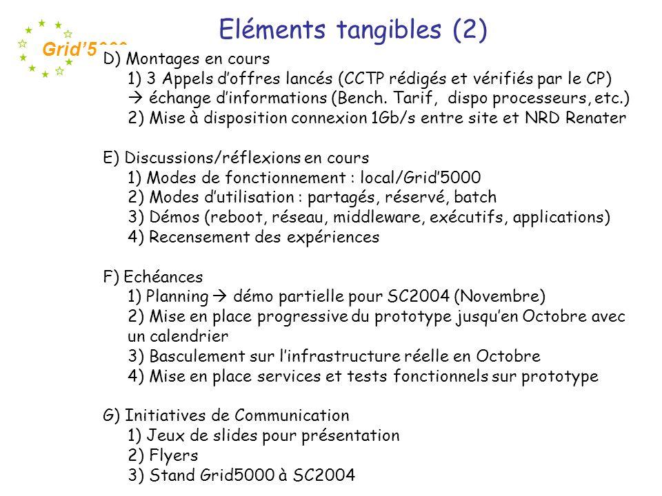 Eléments tangibles (2) D) Montages en cours