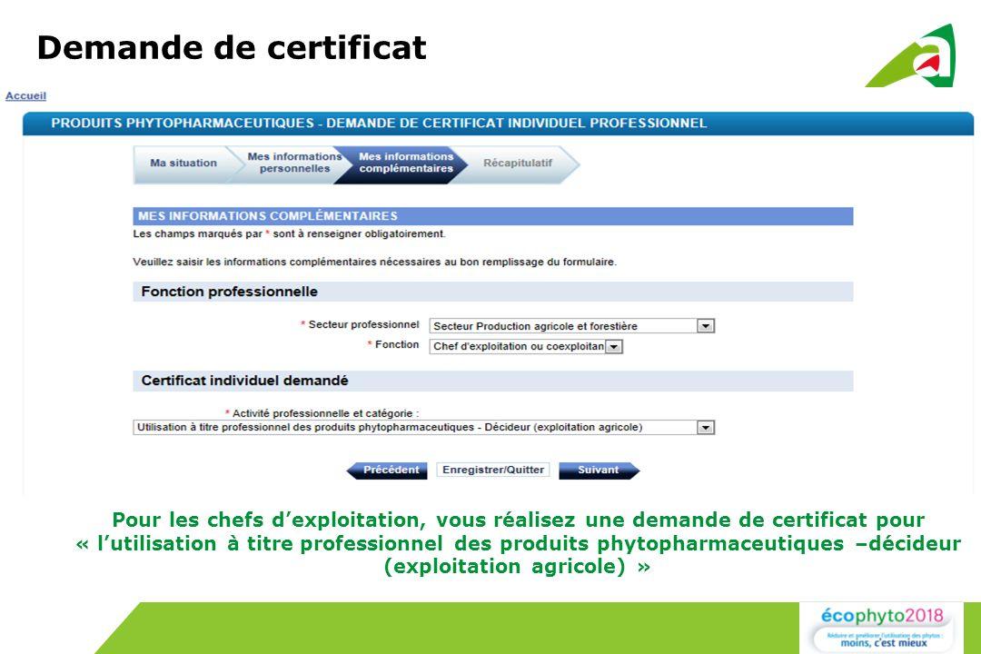 Demande de certificat