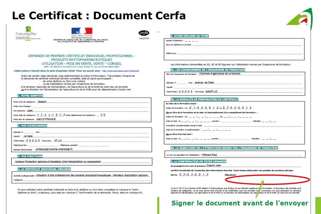 Le Certificat : Document Cerfa
