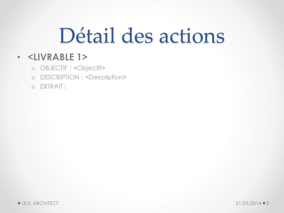 Détail des actions <LIVRABLE 1> OBJECTIF : <Objectif>