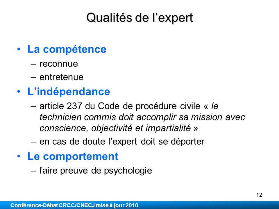 Qualités de l'expert La compétence L'indépendance Le comportement