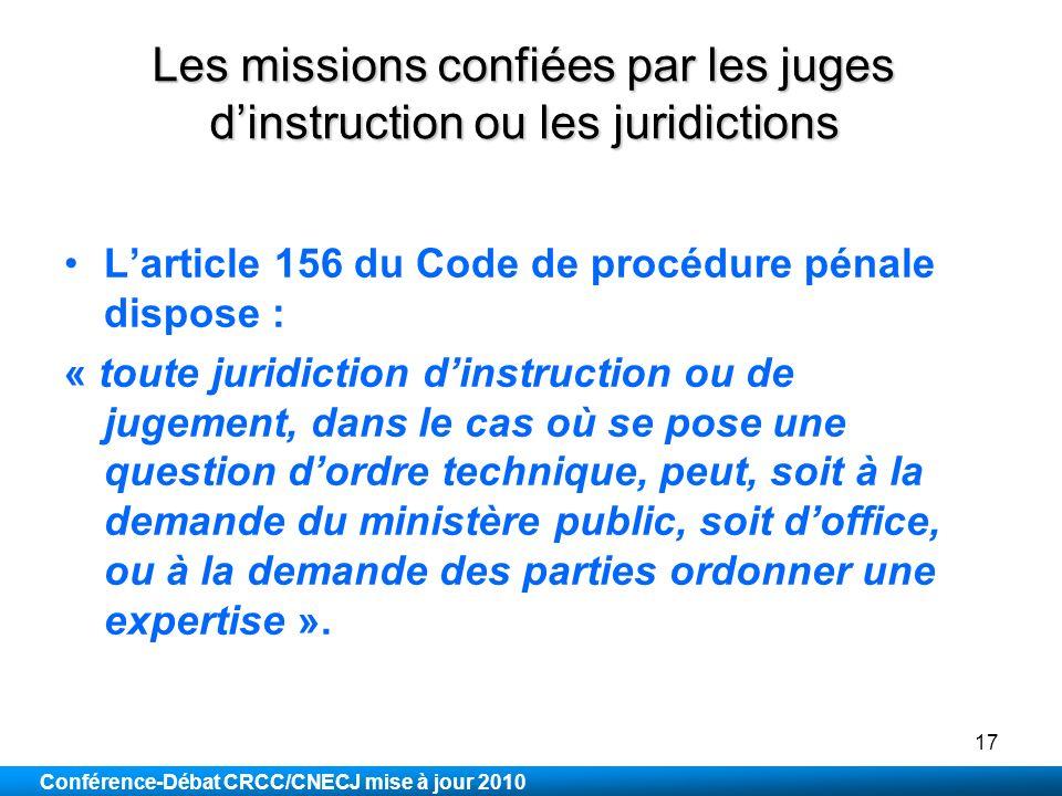 Les missions confiées par les juges d'instruction ou les juridictions