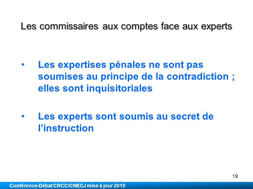 Les commissaires aux comptes face aux experts