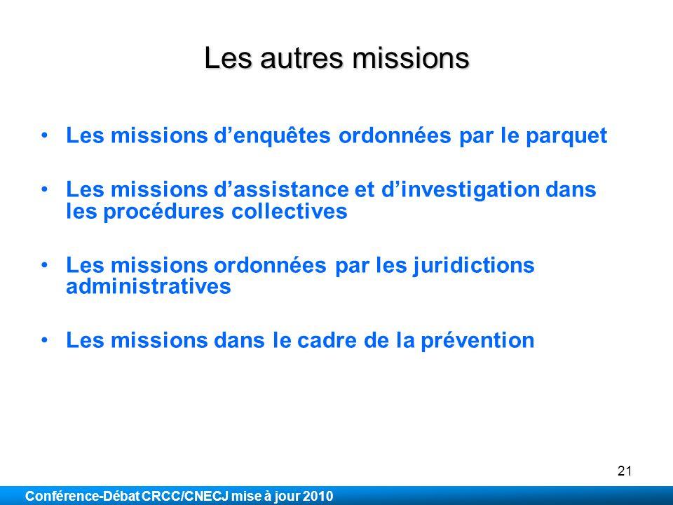 Les autres missions Les missions d'enquêtes ordonnées par le parquet