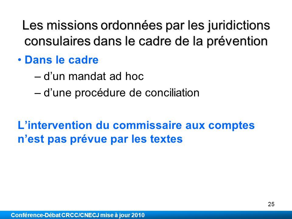 Les missions ordonnées par les juridictions consulaires dans le cadre de la prévention