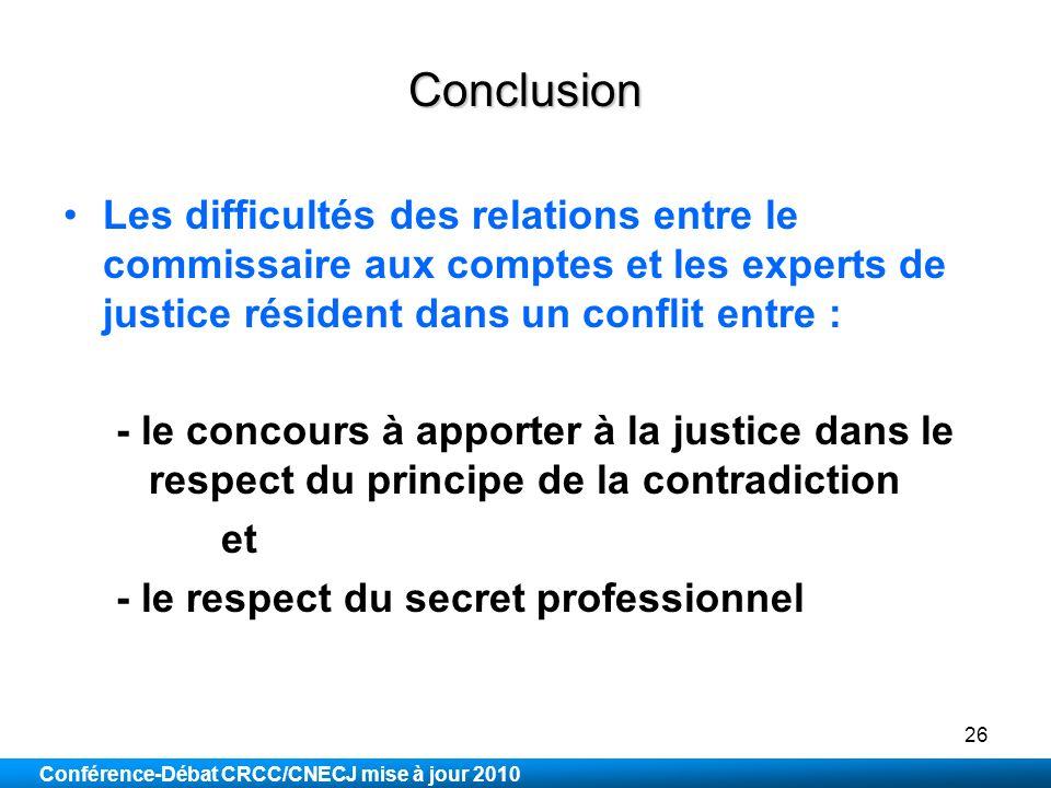 Conclusion Les difficultés des relations entre le commissaire aux comptes et les experts de justice résident dans un conflit entre :