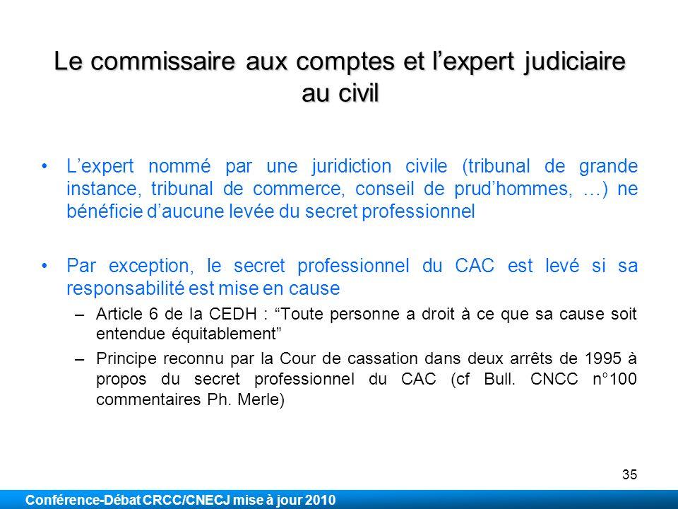 Le commissaire aux comptes et l'expert judiciaire au civil