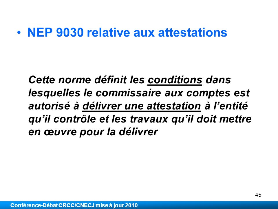 NEP 9030 relative aux attestations