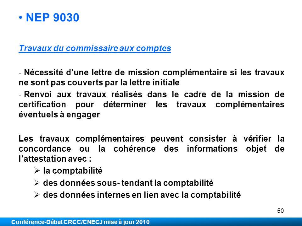 NEP 9030 Travaux du commissaire aux comptes