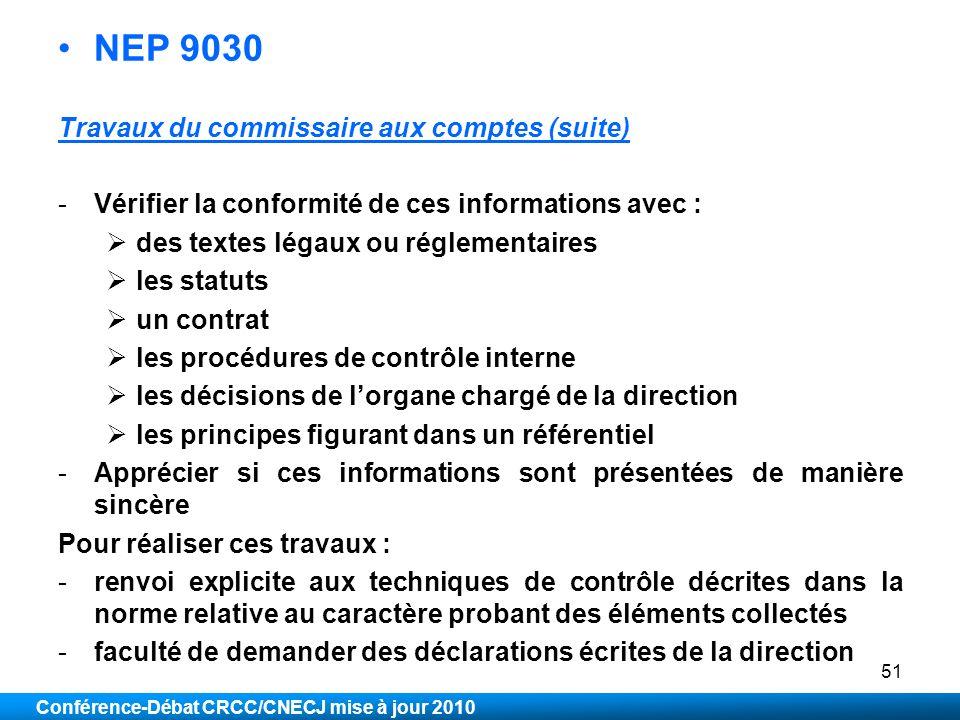 NEP 9030 Travaux du commissaire aux comptes (suite)