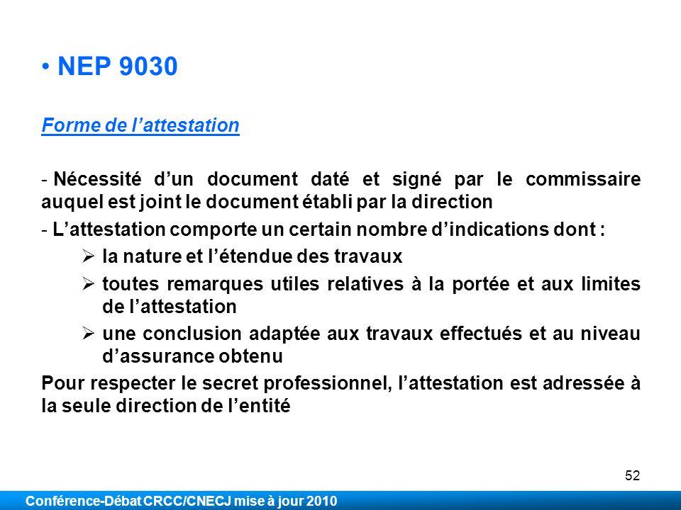 NEP 9030 Forme de l'attestation