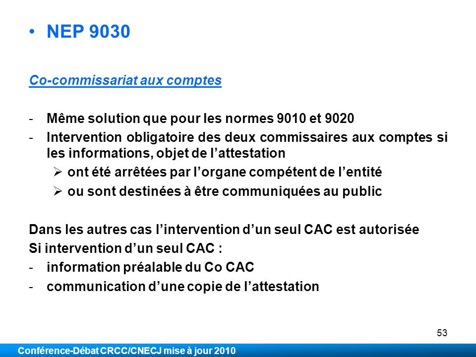 NEP 9030 Co-commissariat aux comptes