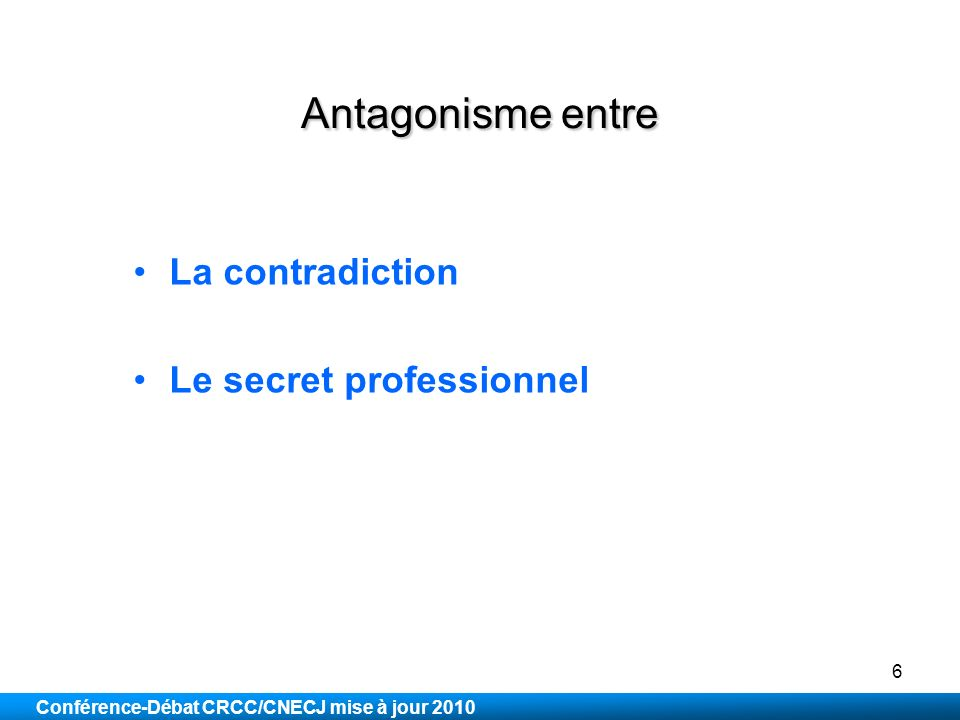 Antagonisme entre La contradiction Le secret professionnel