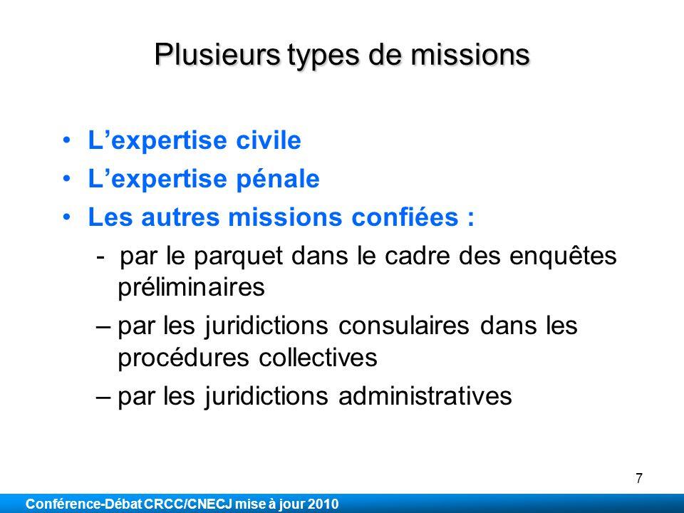 Plusieurs types de missions
