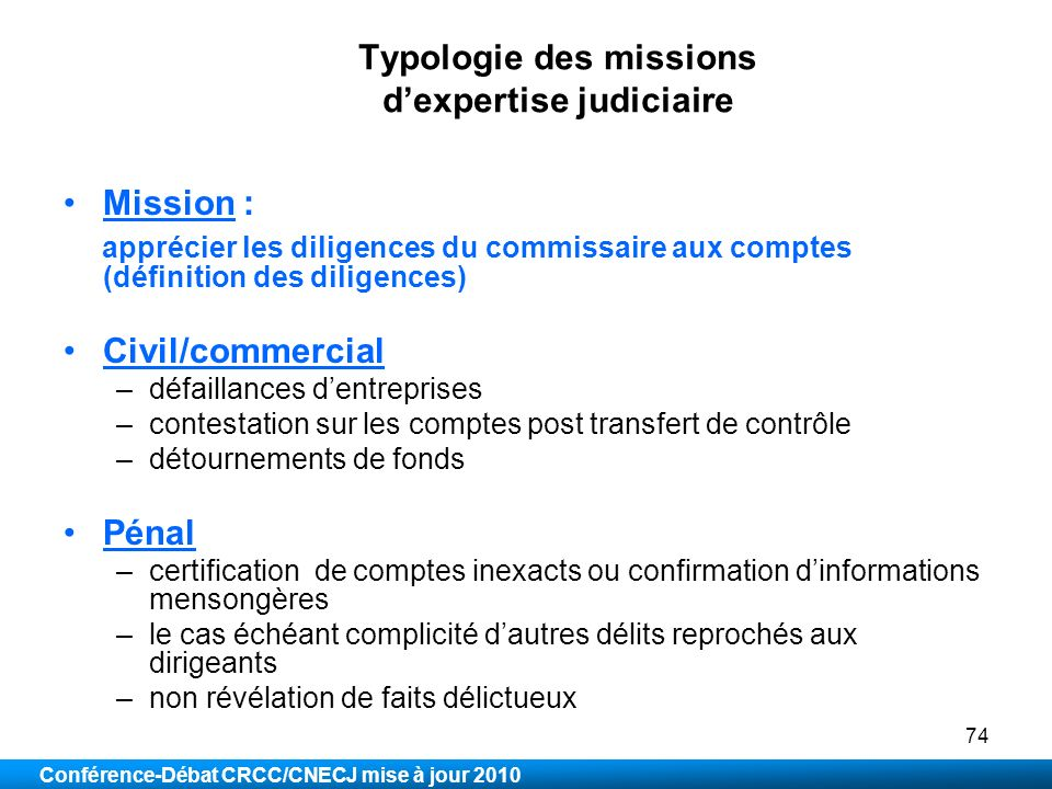 Typologie des missions d'expertise judiciaire
